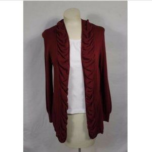 Christopher & Banks Maroon Open Cardigan Small